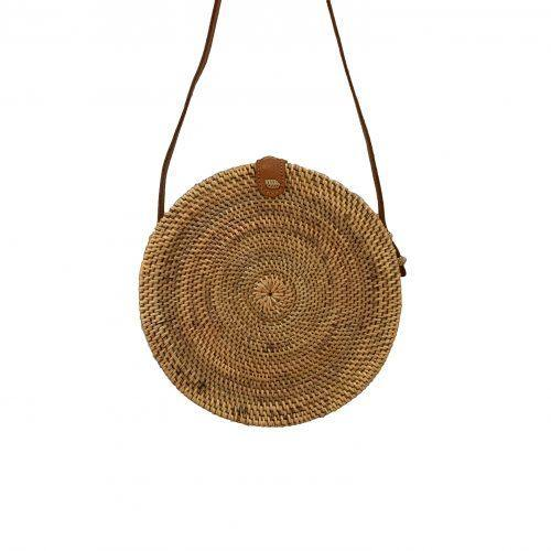 Load image into Gallery viewer, Bali Round Bag - Rattan & Vegan Leather