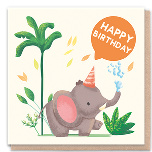 1 Tree Card 100% Recycled Greeting Card Vegan Inks - Happy Birthday Elephant
