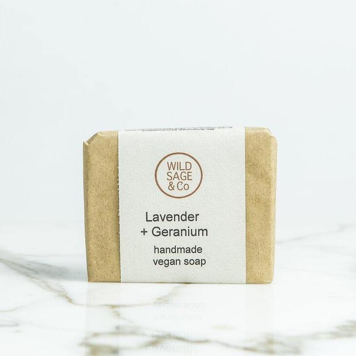 Soothing Lavender & Geranium Natural Soap Bar - Wild Sage & Co