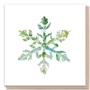Load image into Gallery viewer, 1 Tree Card 100% Recycled Greeting Card Vegan Inks - Green Snowflake