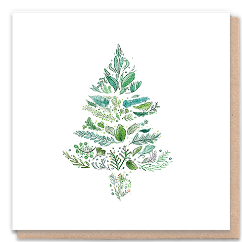 1 Tree Card 100% Recycled Greeting Card Vegan Inks - Green Christmas Tree
