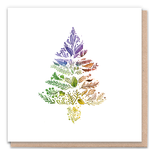 1 Tree Card 100% Recycled Greeting Card Vegan Inks - Rainbow Christmas Tree