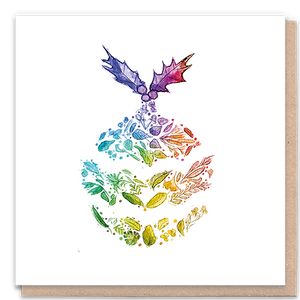1 Tree Card 100% Recycled Greeting Card Vegan Inks - Rainbow Christmas Pudding