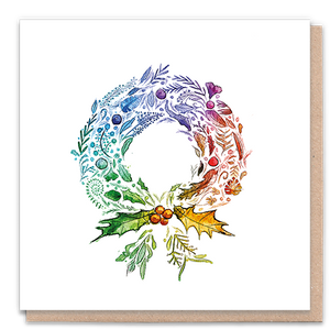 Load image into Gallery viewer, 1 Tree Card 100% Recycled Greeting Card Vegan Inks - Rainbow Wreath