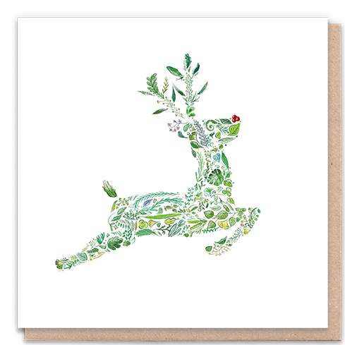 1 Tree Card 100% Recycled Greeting Card Vegan Inks - Green Rudolph