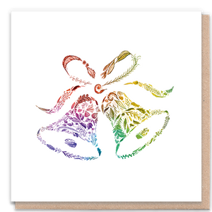 Load image into Gallery viewer, 1 Tree Card 100% Recycled Greeting Card Vegan Inks - Rainbow Bells