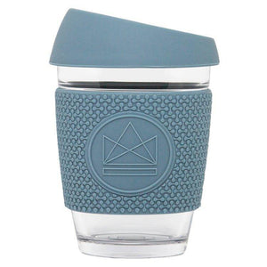 Load image into Gallery viewer, Reusable Eco Glass Coffee Travel Cup Blue - Neon Kactus