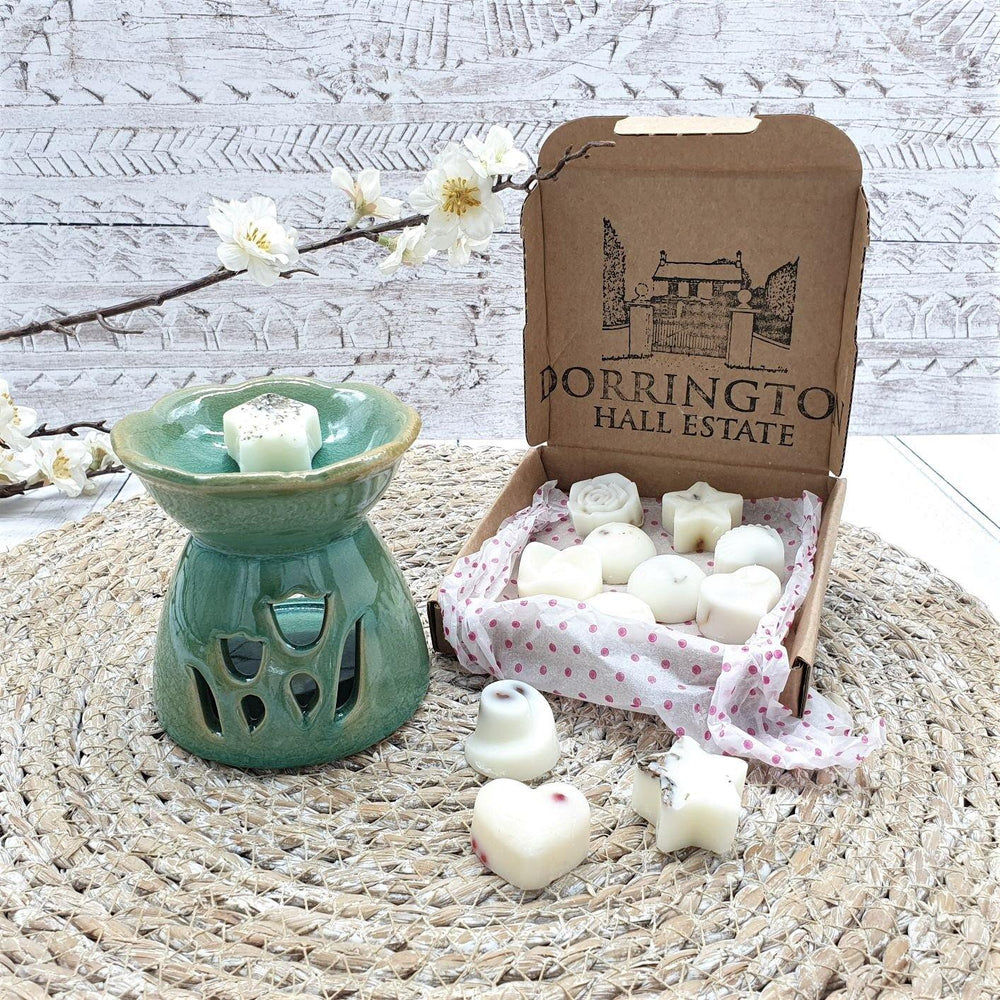 Essential Oil & Wax Melt Burner Green Tulips