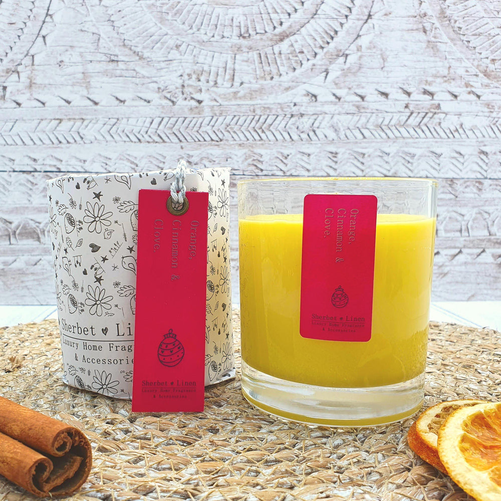 Orange, Cinnamon & Clove Pure Essential Oil Soy Wax Candle - Sherbet Linen