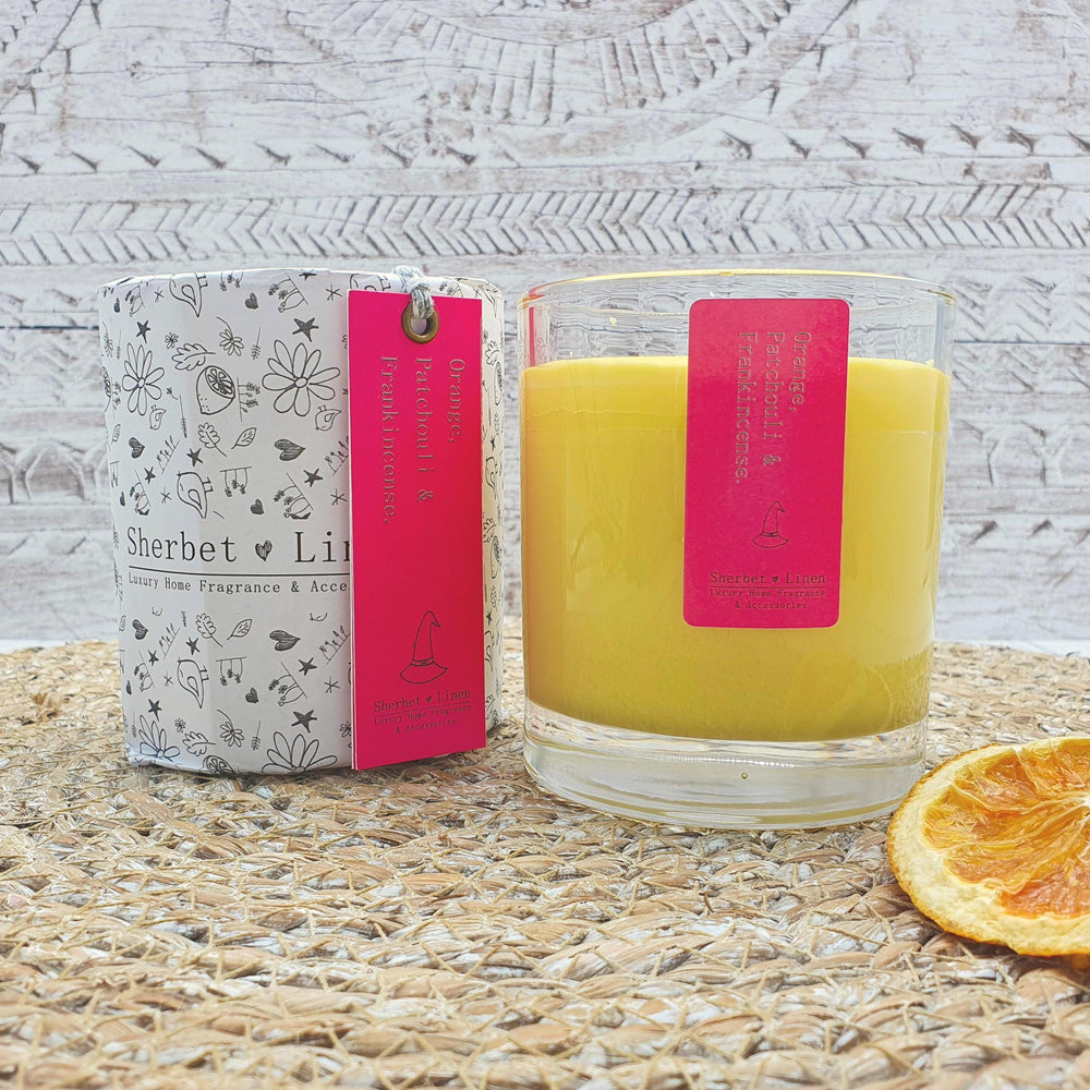 Orange, Patchouli & Frankincense Pure Essential Oil Soy Wax Candle - Sherbet Linen