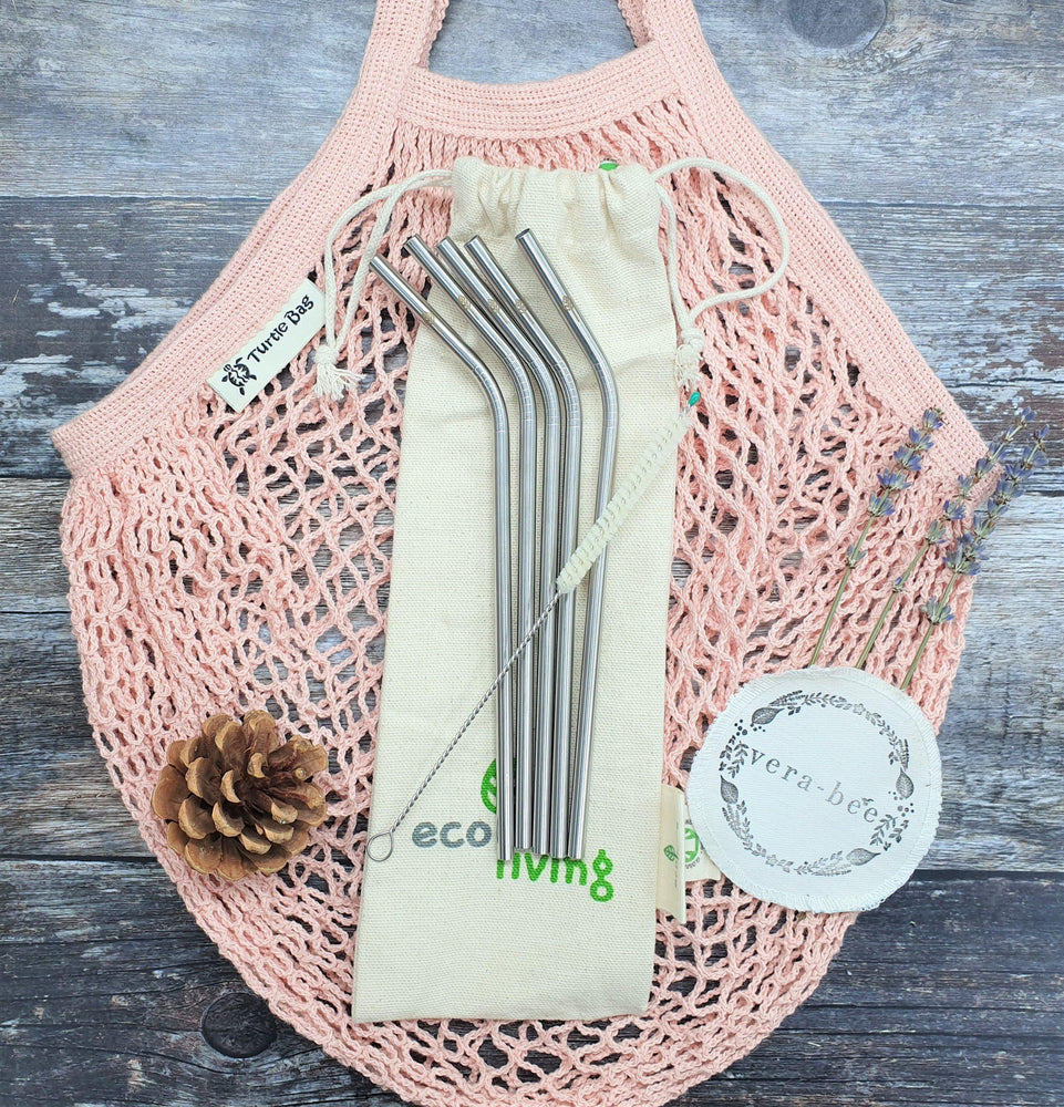 Organic Cotton Blush String Bag & Stainless Steel Straws Gift Set