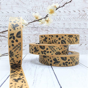 Load image into Gallery viewer, Paper Tape Compostable Vera-Bee Floral Pattern - 24mm x 50m