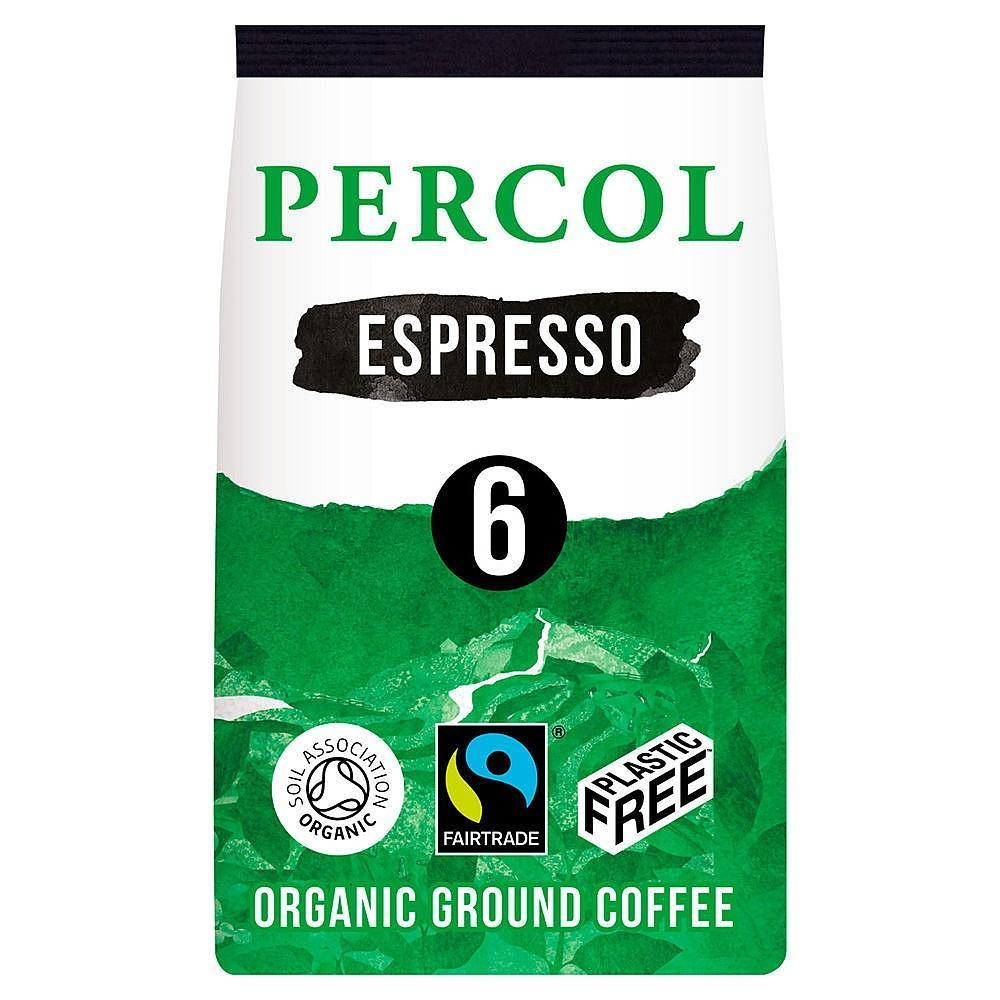 Percol Fairtrade Organic Espresso Ground Coffee - Plastic Free