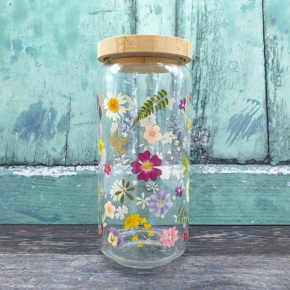 Pressed Flowers Glass Storage Jar Large- Sass & Belle