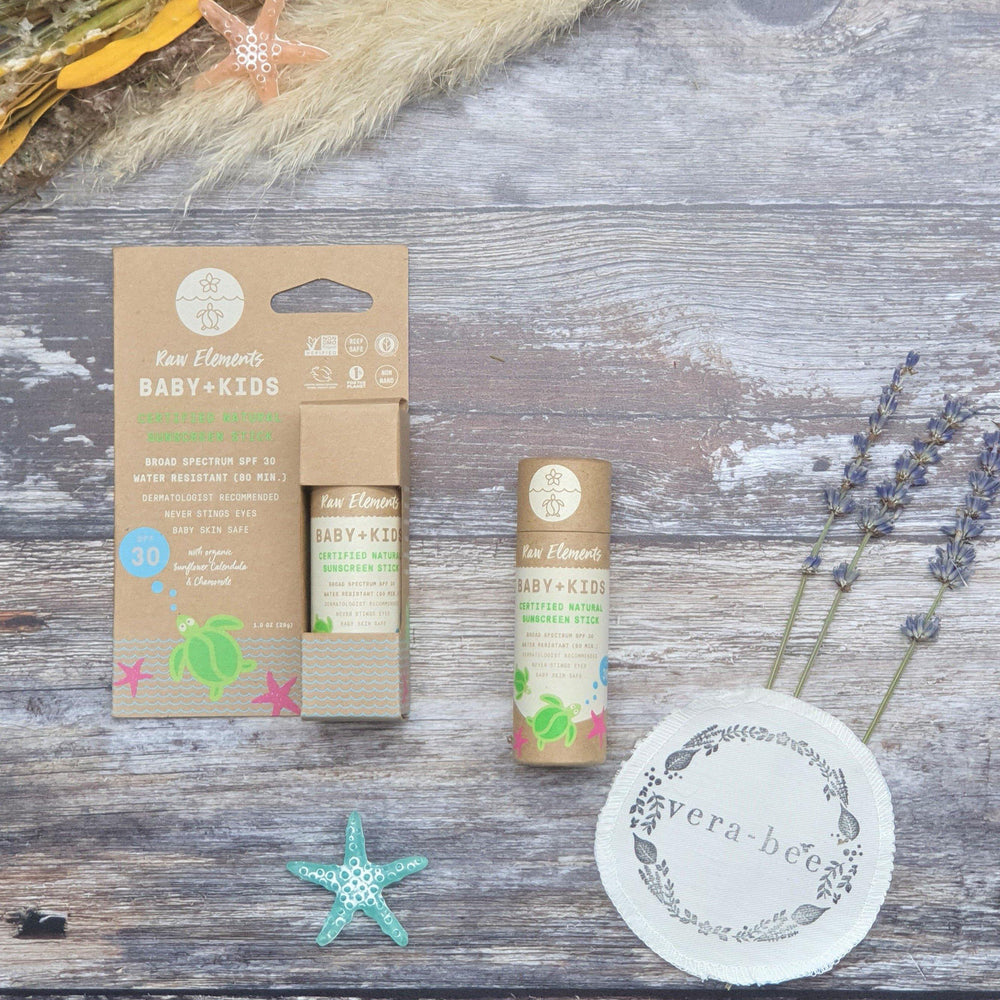 Raw Elements Baby & Children's Hypoallergenic Sunscreen Stick SPF30. Natural & Organic. Plastic Free. Sustainable. Vera-Bee.