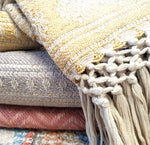 Recycled Throw with hand knotted fringe - Old Gold