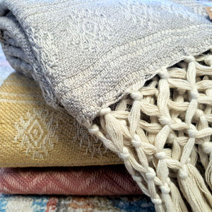Recycled Throw with Hand Knotted Fringe - Soft Lavender Grey
