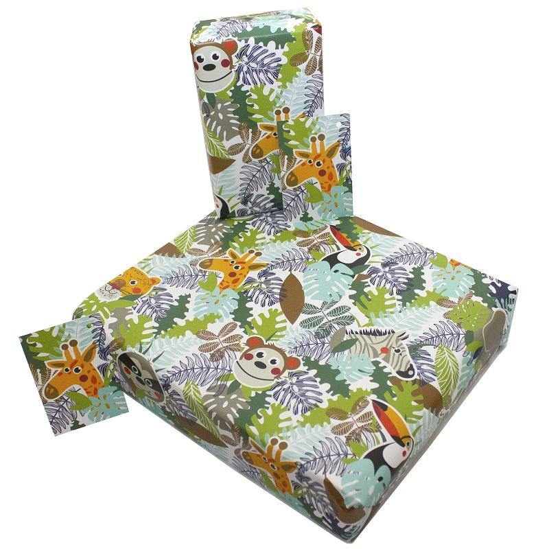 Eco-friendly Recycled Wrapping Paper - Jungle Animals