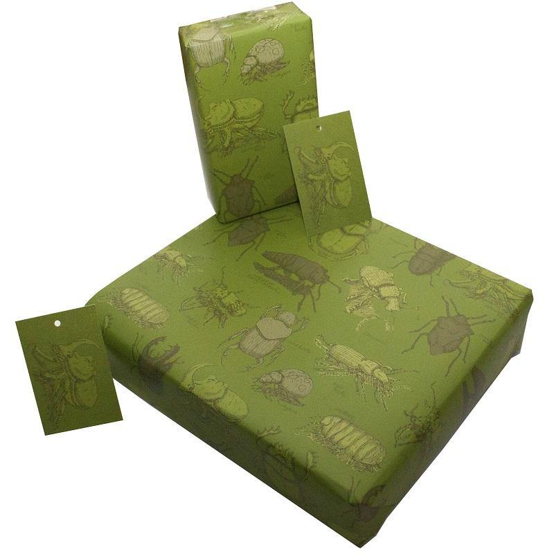 Eco-friendly Recycled Wrapping Paper - Green Beetles by Re-wrapped