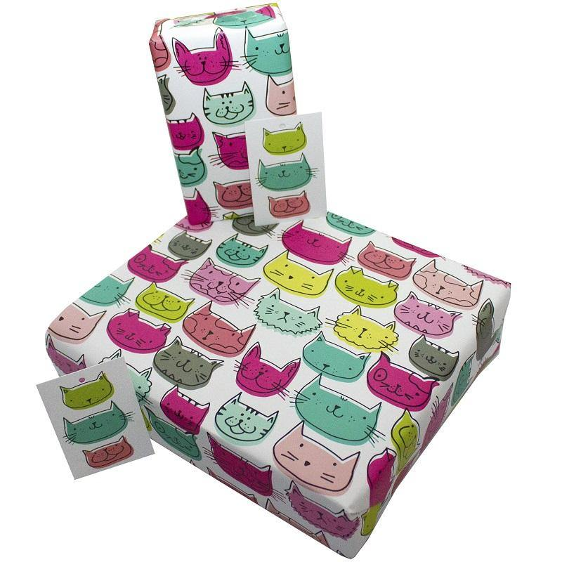 Eco-friendly Recycled Wrapping Paper - Cat Faces by Re-wrapped
