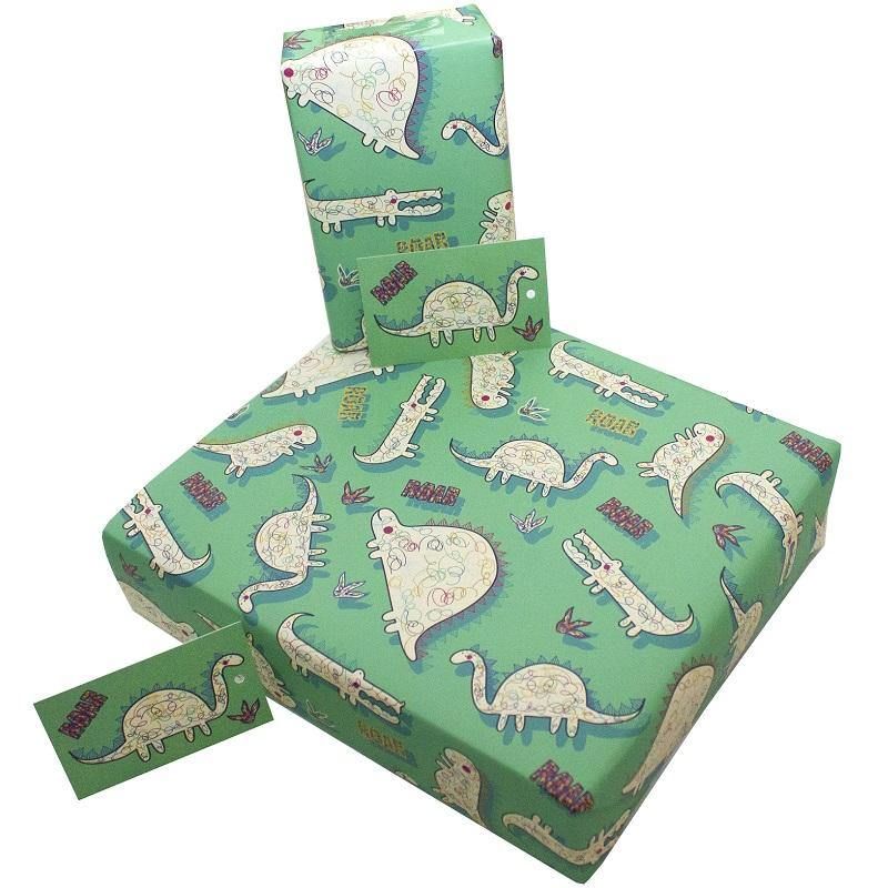 Eco-friendly Recycled Wrapping Paper - Dinosaurs by Re-wrapped - Vera-Bee Limited