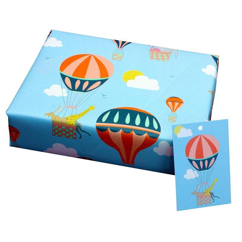 Eco-friendly Recycled Wrapping Paper - Hot Air Balloons