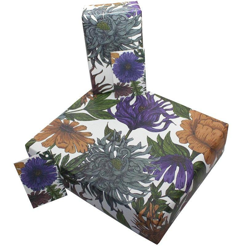 Eco-friendly Recycled Wrapping Paper - Purple Phoebe by Re-wrapped