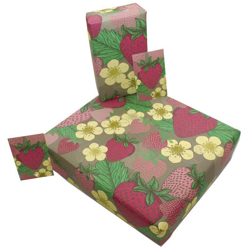 Eco-friendly Recycled Wrapping Paper - Summer Strawberries by Re-wrapped