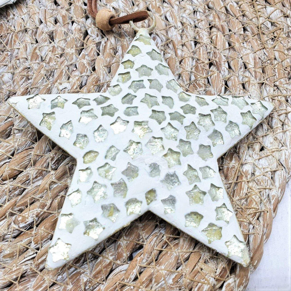 White Finish Glass Star - Recycled Glass