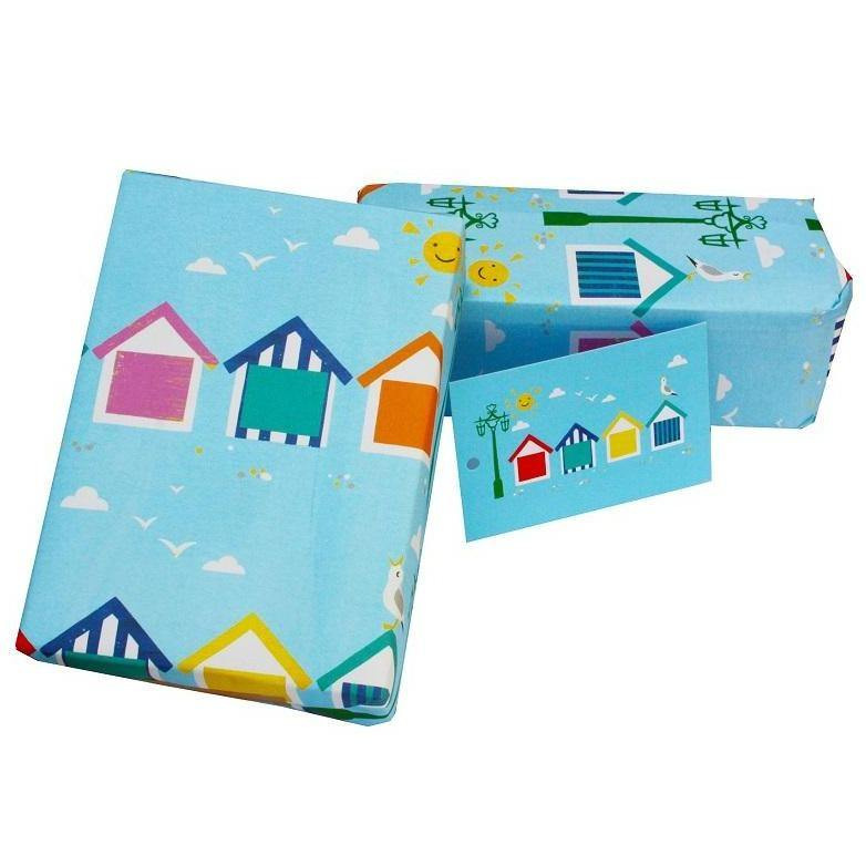 Eco-friendly Recycled Wrapping Paper - Beach Huts by Re-wrapped