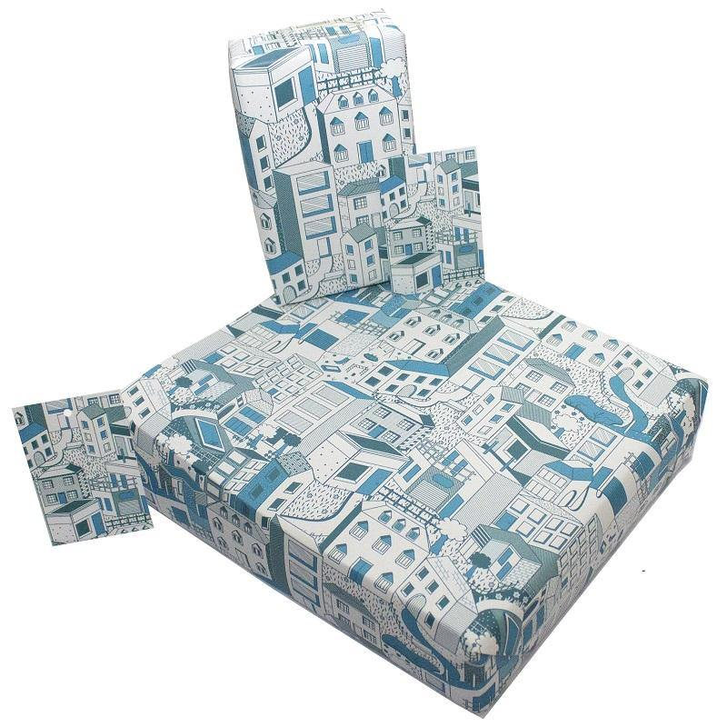 Load image into Gallery viewer, Eco-friendly Recycled Wrapping Paper - Buildings by Re-wrapped