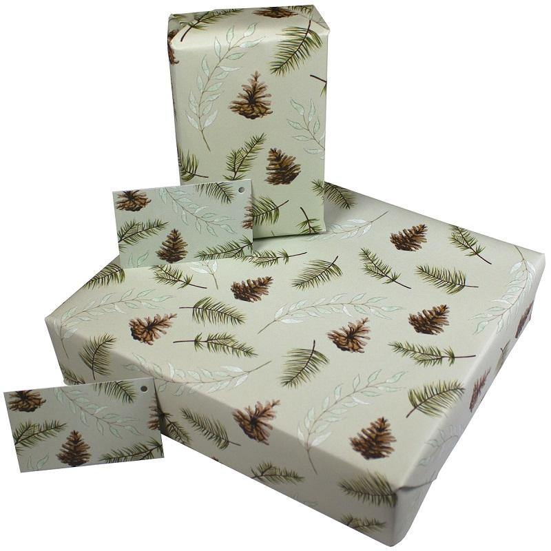 Eco-friendly Recycled Christmas Wrapping Paper - Fir Cones & Pine