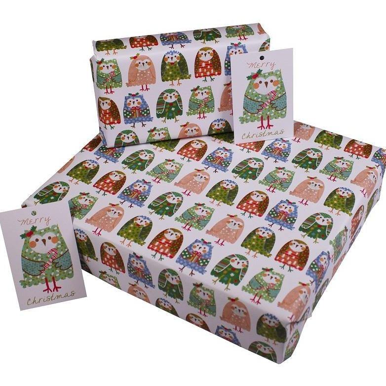 Eco-friendly Recycled Christmas Wrapping Paper - Christmas Owls