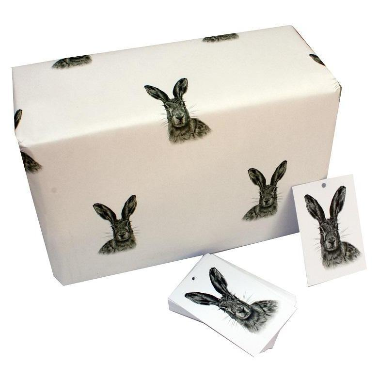 Eco-friendly Recycled Christmas Wrapping Paper - Black & White Hares