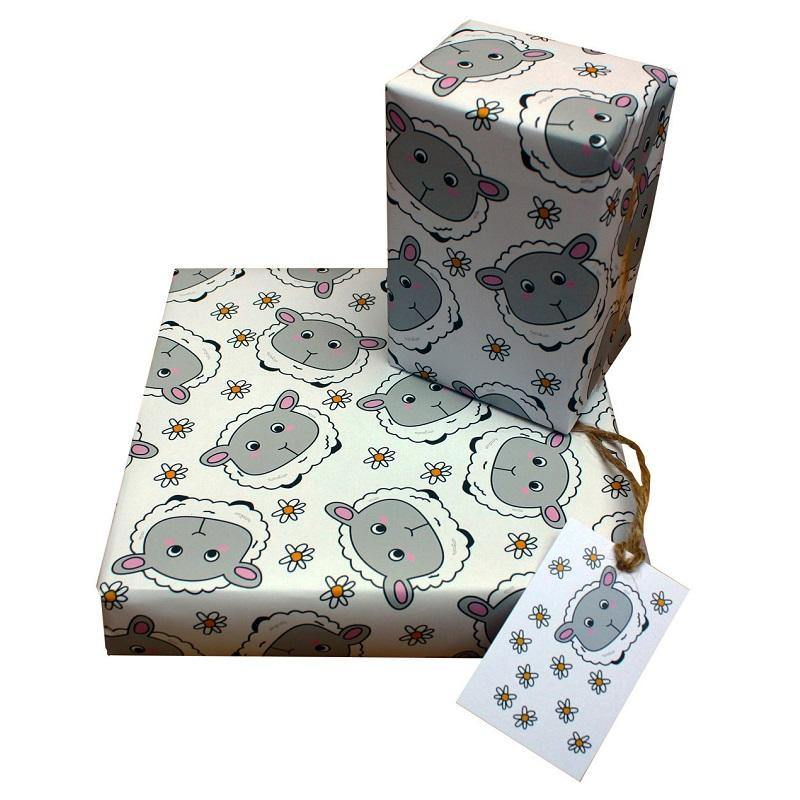 Eco-friendly Recycled Wrapping Paper - Sheep & Daisies by Re-wrapped