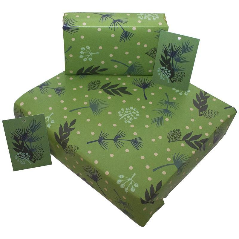 Eco-friendly Recycled Christmas Wrapping Paper - Green Leaves