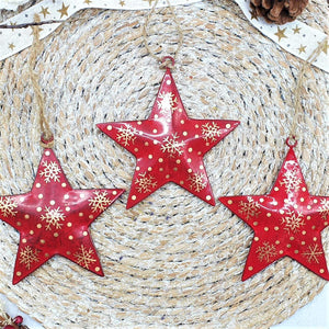 Red Metal Star with Gold Snowflake Decoration