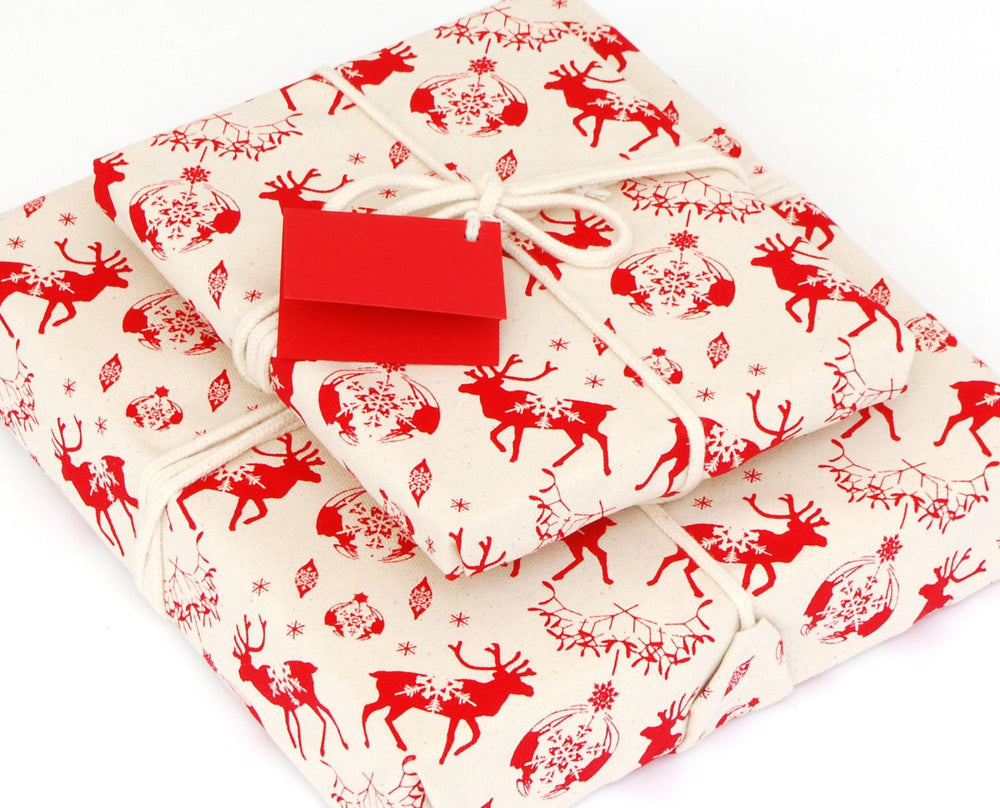 Organic Cotton Reusable Christmas Gift Wrap - Reindeer & Baubles