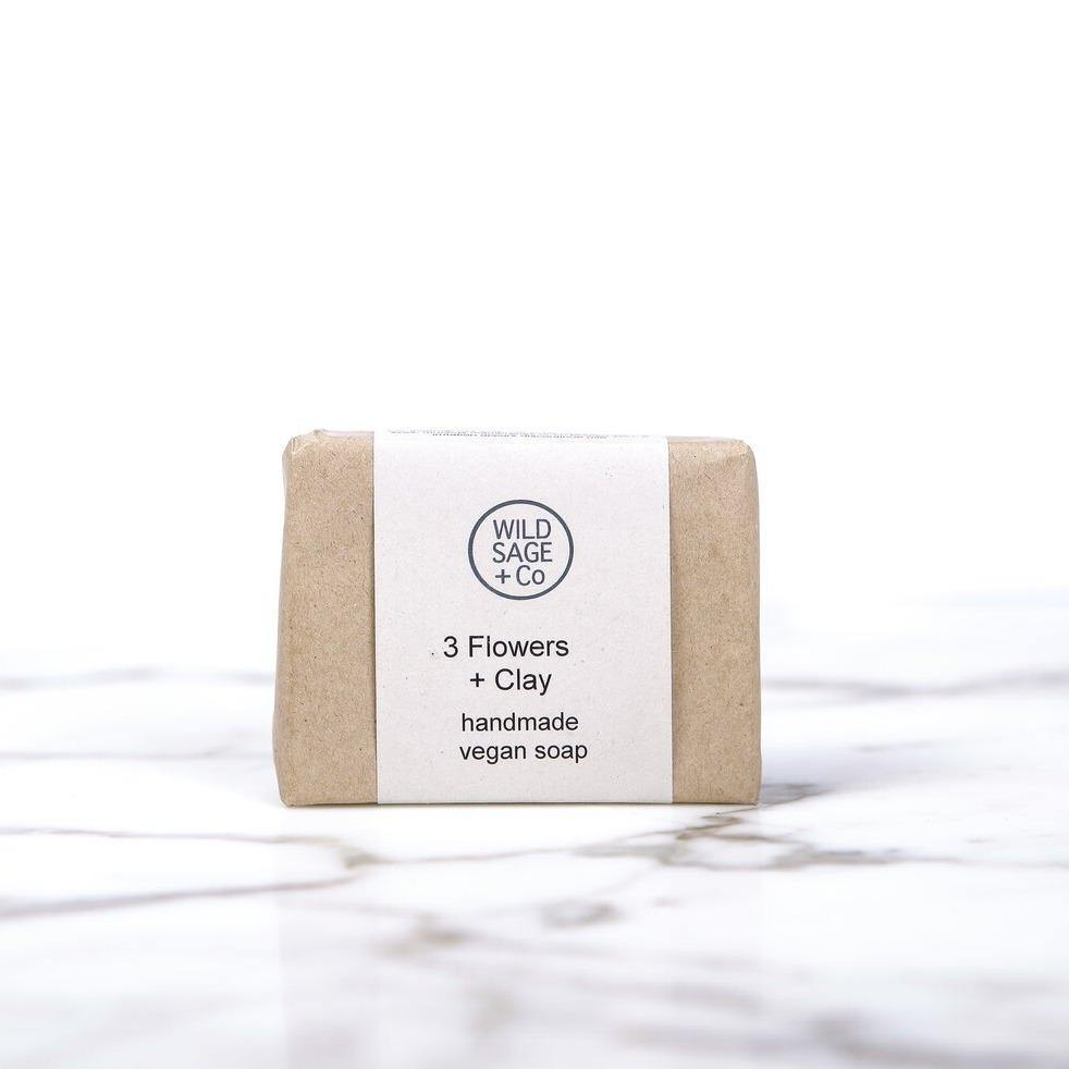 3 Flowers & Clay Face Cleansing Soap Bar - Wild Sage & Co - Vera-Bee Limited