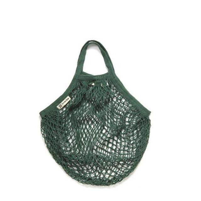 Organic Cotton Short-Handled String Bag - Bottle Green