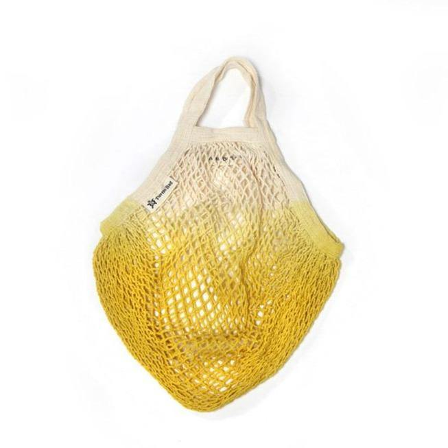 Organic Cotton Short-Handled String Bag - DipDye Yellow - Vera-Bee Limited