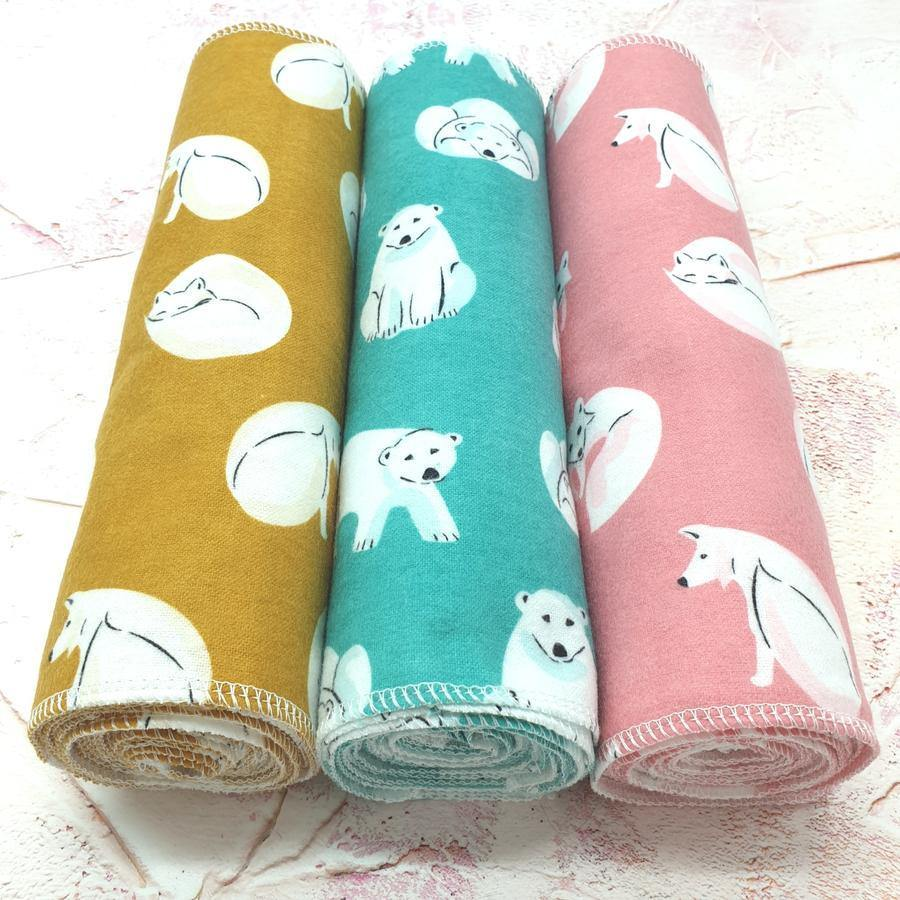 Eco-friendly Unpaper Wipes Organic Cotton Pink Foxes - Vera-Bee