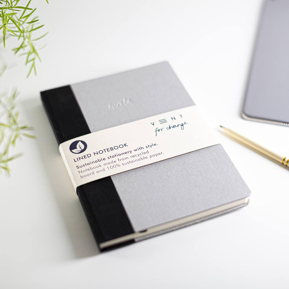 Recycled Board A5 Notebook Lined Paper - Grey - Vent for Change - Vera-Bee Limited