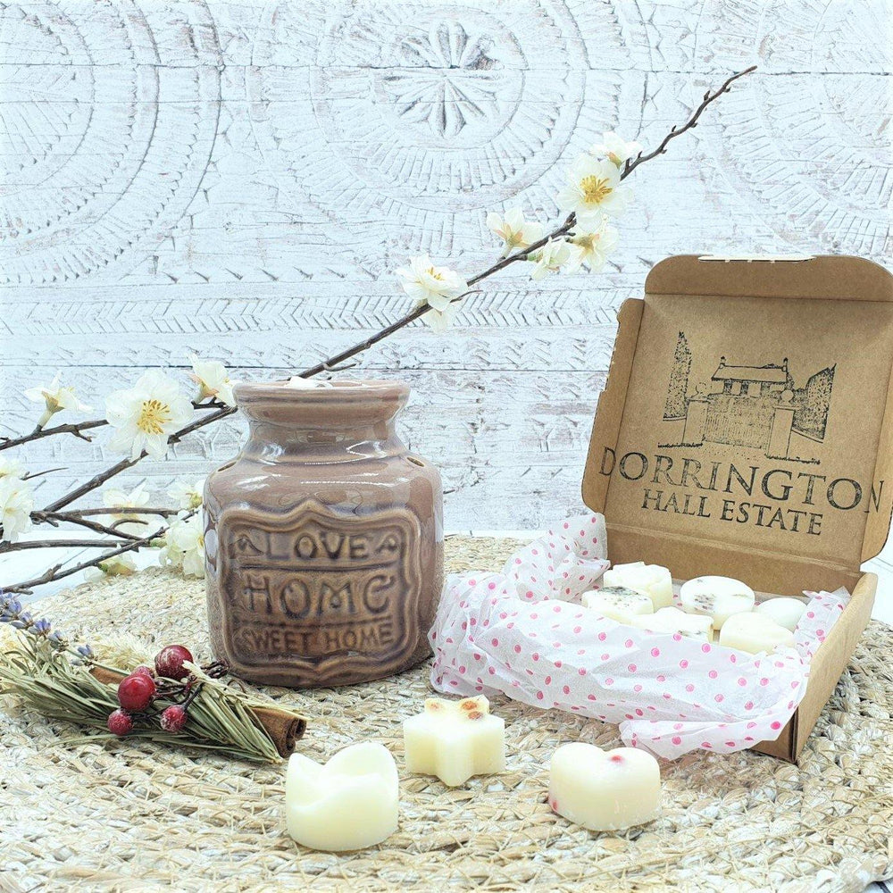 Wax Melt Burner Lavender Grey & Botanical Wax Melts Gift Set