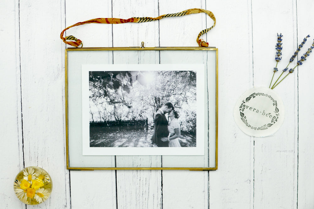 Brass Frame with Sari Hanging Tie. Brass Photo Frame. Sustainable. Handmade. Vera-Bee.