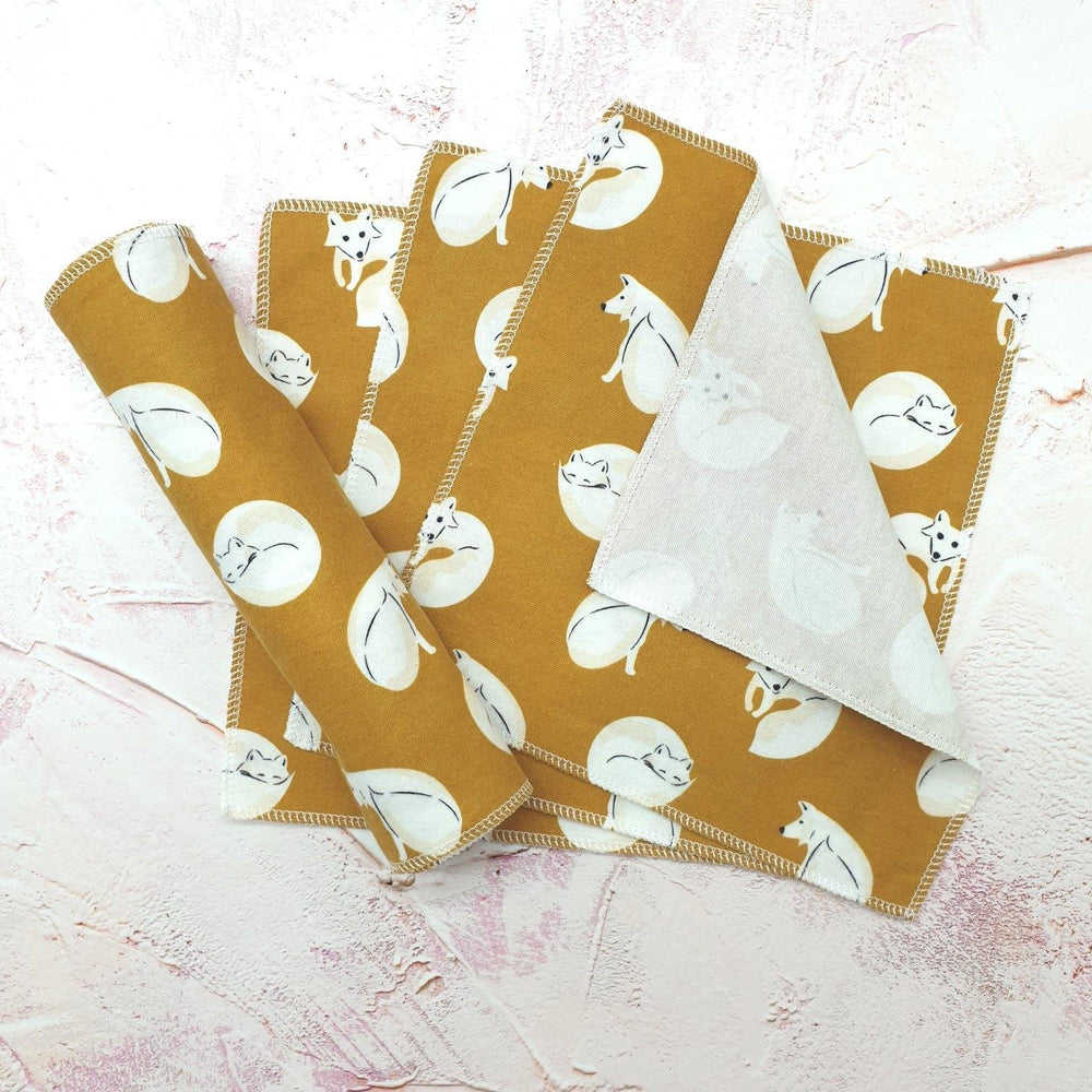 Unpaper Wipes Organic Cotton Yellow Foxes - Vera-Bee