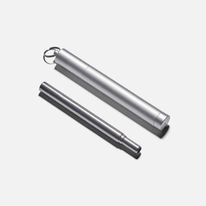 Collapsible Metal Straw & Travel Case - Silver