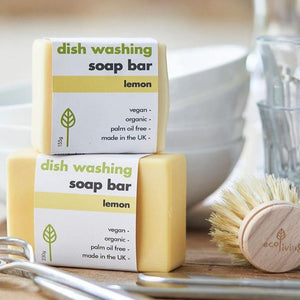 Load image into Gallery viewer, Dish Washing Soap Bar Lemon Vegan & Zero Waste 155g - Made in the UK - Vera-Bee Limited