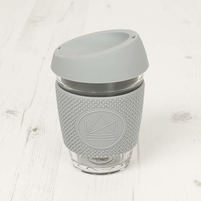 Reusable Eco Glass Coffee Travel Cup Grey - Neon Kactus