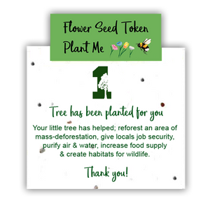 1 Tree Card 100% Recycled Greeting Card Vegan Inks - Happy Birthday Leaves